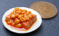 1:12 Plate Of Spaghetti Hoops On Toast Dolls House Miniature Food Accessory