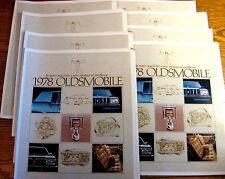 1978 Oldsmobile Auto Show Brochure Lot (10) pcs, Cutlass Delta 88 98 Toronado