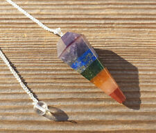 7 CHAKRA BONDED NATURAL STONE GEMSTONE FACETED PENDULUM
