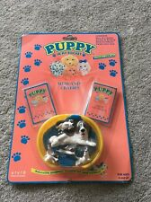 New Vtg Puppy In My Pocket Mum & Babies In Basket 90s MOC Carded Toy Xmas