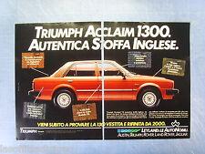 QUATTROR983-PUBBLICITA'/ADVERTISING-1983- TRIUMPH ACCLAIM 1300 (COLOR) -2 fogli