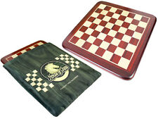 """Bud Rosewood / Maple Rounded Corners Classic Flat Chess Board - 15"""" With Bag"""