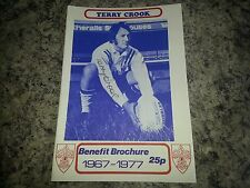 *Signed* Terry Crook Benefit Brochure 1977 Rugby League, Wakefield Trinity - New
