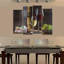 Dessert Fruit Red Wine Picture Canvas Painting Modern Art Wall Home Decor 4Pcs