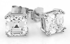STERLING SILVER CZ 5 ct ASSCHER CUT STUD EARRINGS 8 mm