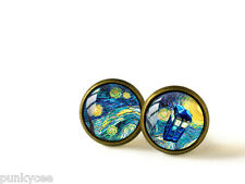 Retro Style Handmade Glass Dome Earrings, Dr. Who TARDIS Starry Night, A-345