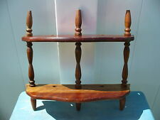 Small Wood Scroll Spindle Bow Front Wall Shelf 2 Tier Curio Display 13 X 13 Inch