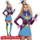 Ladies Sexy Mad Hatter Fancy Dress Costume Adult Alice in Wonderland Outfit New