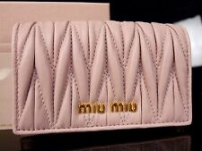 Authentic MIU MIU by Prada Leather Card Case ID Holder Pink Unused M856