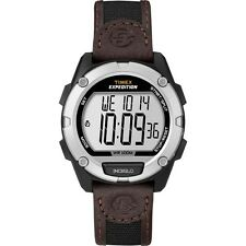 Timex Men's Expedition Digital CAT Watch, Black/Brown Nylon/Leather Strap. Huge