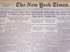 1941 AUG 11 NEW YORK TIMES - WARDEN & 3 OTHERS SLAIN IN OKLAHOMA PRISON- NT 1160