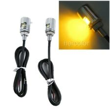 2 Motorcycle Amber LED Bulb Chrome License Plate Light Bolts Indicator Lamp