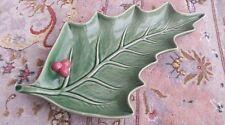 Rare Vintage Portuguese Bordallo Pinheiro Christmas Ivy Leaf Majolica China Dish