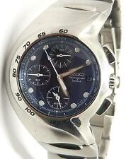 Seiko Chronograph WR 100 Stainless Steel Case Blue Face Mens Watch 7T62-0AM0
