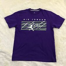 NIKE Men's Air Jordan Basketball T-Shirt Classic SZ L Flight Logo Cotton Purple
