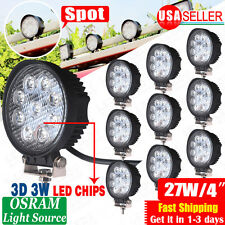 "10x 27W 4"" Spot Round Offroad Work LED Light Bar Driving DRL SUV 4WD Boat Truck"