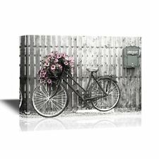 wall26 - Canvas Wall Art - Retro Style Bike with Flowers -Ready to Hang - 16x24
