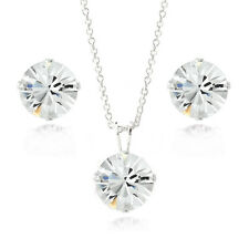 Sterling Silver Swarovski Elements Necklace & Stud Earrings Set