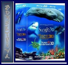 DOLPHINS & WHALES, SHARKS, OCEAN WONDERLAND TRILOGY - *3D BLU-RAY * REGION FREE*