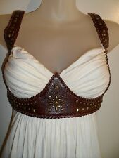 Sky Clothing Brand XS Dress Ivory Off White Brown Leather Studded Western Party