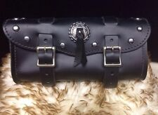 """Large 11"""" Black Leather Tool Bag With Studs And Concho Harley Indian"""