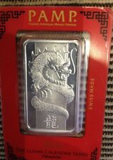 Pamp Suisse 1 Ounce Silver Ingot 2012 Dragon