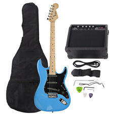 New 22 Frets ST Burning Fire Electric Guitar Sky Blue with Bag & 15 AMP