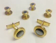 NEW Mens Gold/Gray Embossed Cuff Links & Shirt Studs Set Western Bullet Tuxedo