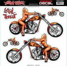 Lethal Threat Sticker Aufkleber XL Chopper Chick Auto Bike Helm Chopper MC Truck