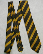 NEW BROWN GOLD STRIPED TIE MENS NECKTIE OLD SCHOOL COLLEGE STRIPES VINTAGE