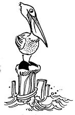 Unmounted Rubber Stamps, Nautical, Tropical, Sea Birds, Cute Pellican on Post