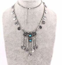 Vintage Boho Silver Coins Turquoise Long Chain Pendants Beads Jewelry Necklace