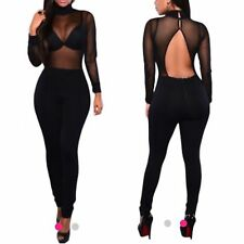 New Sexy black Mesh Keyhole Back Jumpsuit Size 8-10-12-14