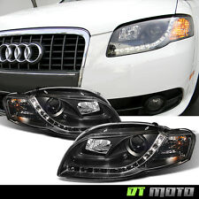Black 2006-2008 Audi A4 S4 B7 LED Daytime Running Lamps DRL Projector Headlights
