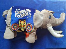 ELEPHANT PLUSH TOY STUFFED ANIMAL RINGLING BROS CIRCUS BLANKET GOLD TRIM 140th