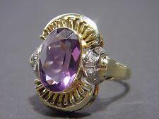 Antica Art Deco Ametista & Diamanti Anello/Oro 585/1930 per/fantastiche lavoro