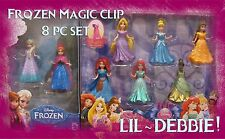 FROZEN Glitter Magic Clip Disney Princess 8 Doll Fashion Set Elsa Anna Magiclip