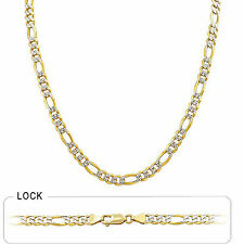 """5.70mm 26"""" 36.00gm 14k Gold Two Tone Pave Men's Polished Figaro Chain Necklace"""