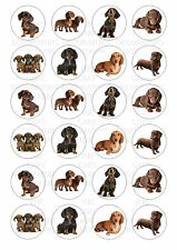 24 Dachshund Wafer / Rice Paper Cupcake Topper Edible Fairy Cake Bun Toppers