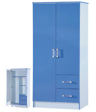 2 Door Wardrobe | 2 Drawers Combi | Blue High Gloss Two Tone | Bedroom Furniture