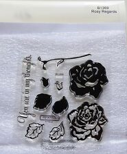 CTMH B1369 Rosy Regards Acrylic Clear Stamps Roses Friendship Thoughts Sympathy