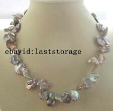 """WOW!freshwater pearl reborn keshi purple necklace 18"""" necklace nature beads"""