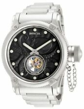 Men's Invicta 11139 Mechanical Tourbillion Black Dial Stainless Steel Watch NEW