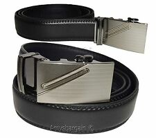 Men's Belt. Leather Dress Belt, w/ Auto Lock Sliding Buckle, (S) Belt, Strap BN