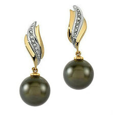 18K Two Tone Gold 10-11mm Tahitian Black Pearl Earrings With 1/6ctw Diamonds