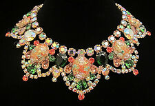 "Rare Vintage 15"" Juliana D&E Goldtone Easter Egg Fruit Salad Glass Necklace A49"
