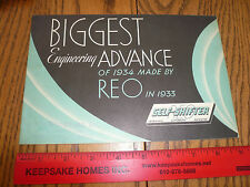 1934 REO Self-Shifter Brochure - Leverless Automatic Patented - Vintage