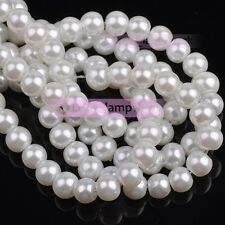 4mm 6mm 8mm Round Pearl Glass Charms Loose Spacer Beads Wholesale Lot 27 Colors
