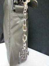 New Men Women Silver Metal Key Chain Ring Fashion Black Cross Jeans Bag Charm