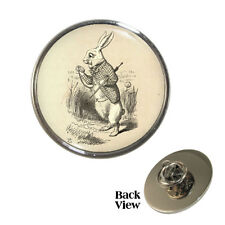 Vintage Style White Rabbit Metal Pin Badge tenniel alice book illustration NEW